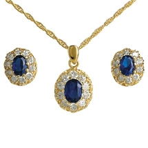 Sapphire and Crystal Pendant and Earrings Set