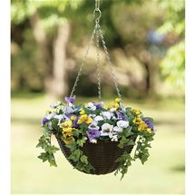 Faux Pansy Hanging Basket