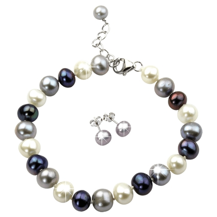 Smoky Pearl Earring and Bracelet Set