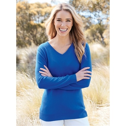 V-Neck Long Sleeve Cashmere Sweater